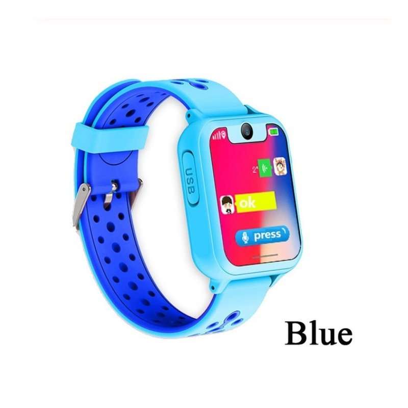 S6 Children's Smart Watch LBS Phone GPS Watch SOS Emergency Call Position Locator Outdoor Tracker Baby Anti-lost Monitor Blue LBS version