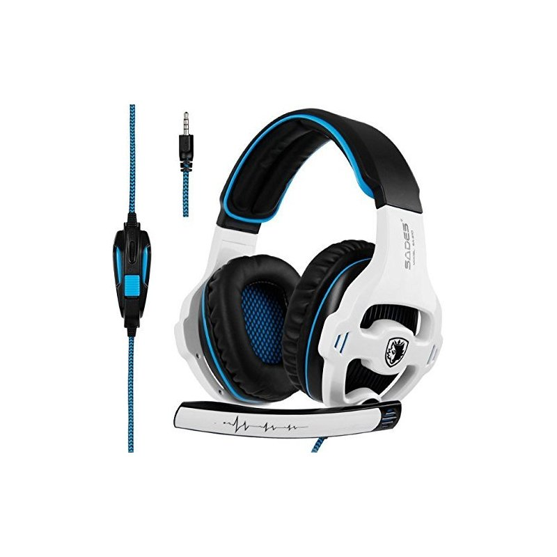 SADES SA-810 3.5mm Stereo Gaming Headset Headphones Multi-platform For PS4 One PC for Mac Laptop White blue