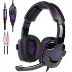 SADES SA-930 Professional Headset 3.5mm Gaming Headphones with 1 to 2 Cable for Computer Black purple