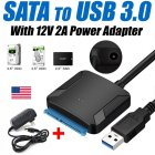 SATA to USB3.0 Adapter Converter 12V/2A US Plug Power Adapter  black