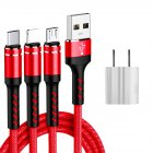 SIMU 1.2 M Data Cable Of One For Three Woven Cylindrical Mobile Phone Charging Cable With Plug Set red