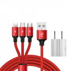 SIMU 1.2M Data Cable Of One Drag Three 2.4A Braided Fast Charging Mobile Phone Cable With USB Charging Plug red