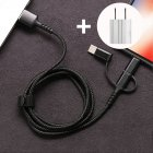 SIMU 1M Three-In-One Braided Mobile Phone Charging Cable For Apple Android Type-C black