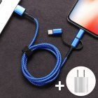 SIMU 1M Three-In-One Braided Mobile Phone Charging Cable For Apple Android Type-C blue