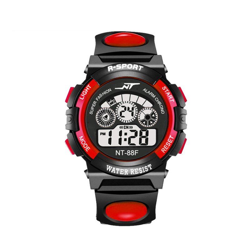 SIMU Kids Boy Girls Electronic Watch Students Multi-function Sports Casual Wristwatch red