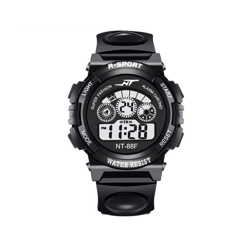 SIMU Kids Boy Girls Electronic Watch Students Multi-function Sports Casual Wristwatch black