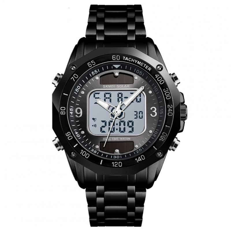 SKMEI 1493 Double Display Electronic watch Sports Electric Movement Solar Energy Wristwatch black