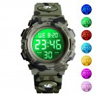 SKMEI Kid Digital Sports Watch Colorful LED Date Week EL Light Waterproof Alarm Camouflage Wristwatch Army Green
