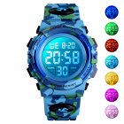 SKMEI Kid Digital Sports Watch Colorful LED Date Week EL Light Waterproof Alarm Camouflage Wristwatch Light blue