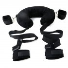 SM Game Bondage Kit Neck Pillow Padded Handcuffs Ankle Cuffs Thigh Restraint Sex Toy for Adults black