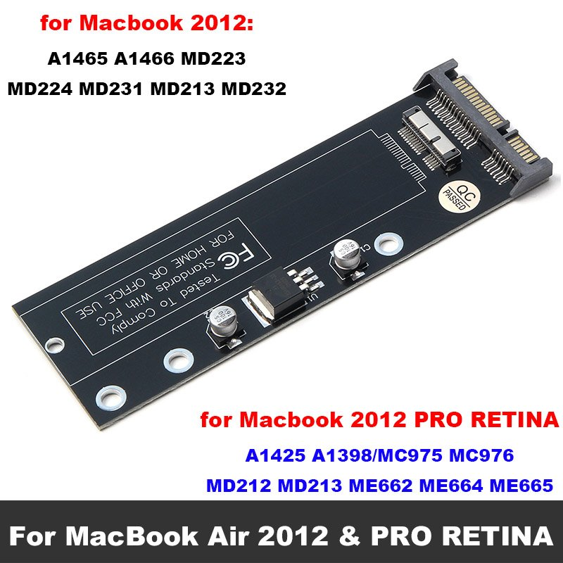 SSD to SATA Converter Card Board for Apple 2010 2011 2012 for MacBook Air & PRO RETINA 7+17pin & 6+12pin SSD to SATA 22pin