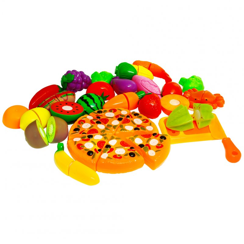 [US Direct] Sakiyr 26pcs Pretend Play Food Set for Kids Toys Playset with Cutting Play Fruits and Vegetables, Pizza Pies, Cutting Board, Knife and More