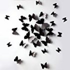 Sangu 3D Black Butterfly Removable Mural Wall Stickers Wall Decal for Home Decor(Black)