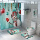 Santa Claus/Christmas Snowman/Christmas Tree Pattern Printing Shower Curtain + Floor Mat +Toilet Seat Cover+ Foot Pad Set Y146_As shown