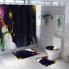 Santa Claus/Christmas Snowman/Christmas Tree Pattern Printing Shower Curtain + Floor Mat +Toilet Seat Cover+ Foot Pad Set Y187_As shown