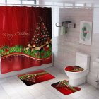 Santa Claus/Christmas Snowman/Christmas Tree Pattern Printing Shower Curtain + Floor Mat +Toilet Seat Cover+ Foot Pad Set Y141_As shown