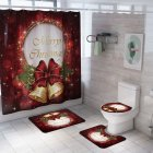Santa Claus/Christmas Snowman/Christmas Tree Pattern Printing Shower Curtain + Floor Mat +Toilet Seat Cover+ Foot Pad Set Y142_As shown