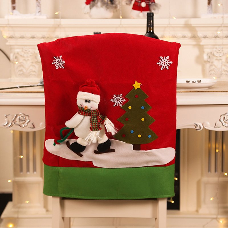 Santa Claus/Elk/Snowman Printing Chair Cover Christmas Dinner Table Party Decoration Snowman
