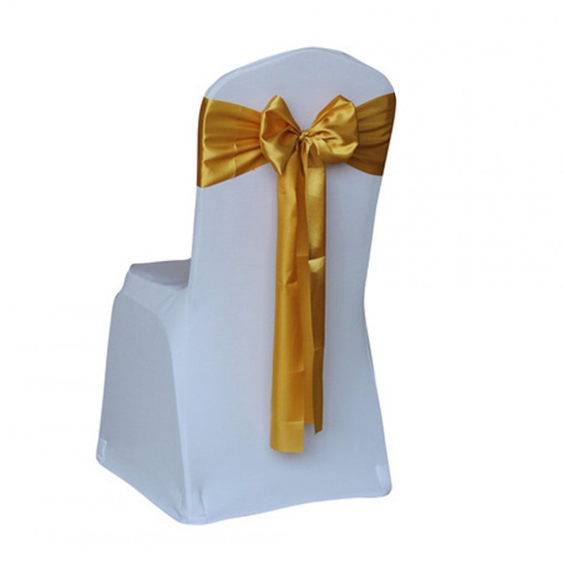 Satin Wedding Chair Cover Bow Sashes Banquet Decor