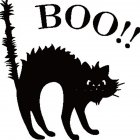 Scary Black Cat Pattern Wall Sticker for Halloween Living Room Bedroom Decor 13*13cm A