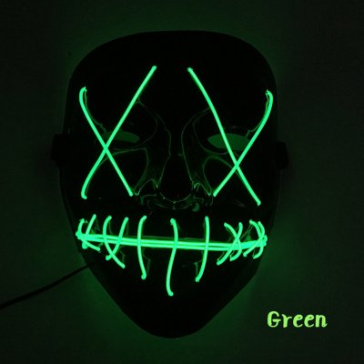 Scary Halloween Mask LED Light Up V-shape Face Mask for Festival Cosplay Costume dark green