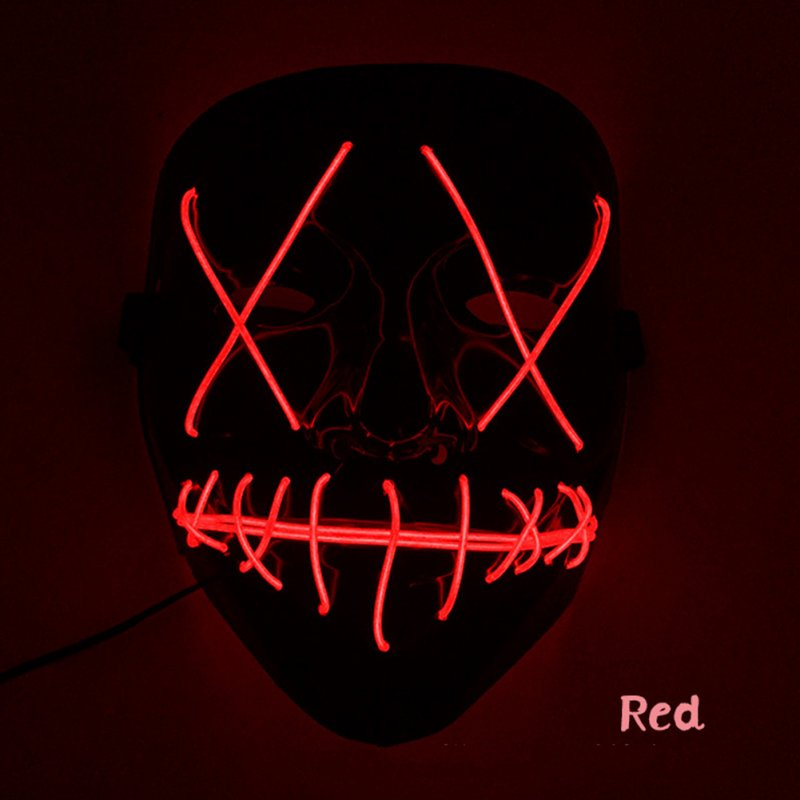 Scary Halloween Mask LED Light Up V-shape Face Mask for Festival Cosplay Costume red
