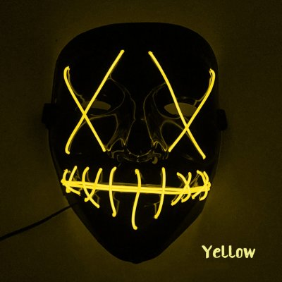 Scary Halloween Mask LED Light Up V-shape Face Mask for Festival Cosplay Costume yellow