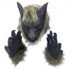 Scary Lion/Tiger/Wolf Head Full Face Horror Masquerade Masks Halloween Props Grey wolf + gloves