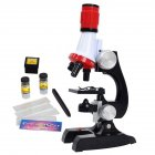 Science Kits for Kids Beginner Microscope with LED 100X 400X and 1200X Magnification Kids Educational Toy Birthday Present Black red