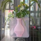 Self-adhesion Silicone Vase for Refrigerator Glass Wall Decor Flower Plants Supplies pink