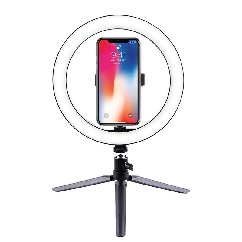 Selfie Ring Light LED Circle Light USB LED Desktop Lamp with Stand Dimmable LED Fill Light for Live Stream Photograph Desktop stand + 26cm fill light + built-in phone clip