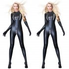 Sexy Black Female Faux Leather Catsuit PVC Latex Full Bodysuit Zipper Open Crotch Stretch Clubwear Erotic Pole Dance Lingerie black_XL
