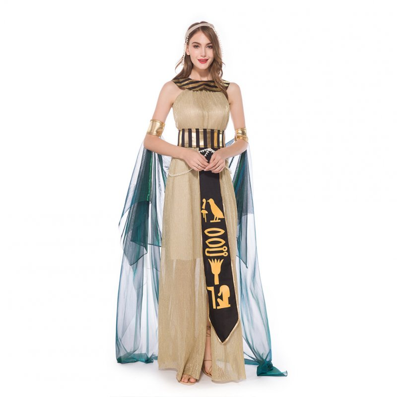 Sexy Egyptian Goddess Beautiful Queen Costume Women's Royal Halloween Arab Cleopatra Fancy Dress Gold_L