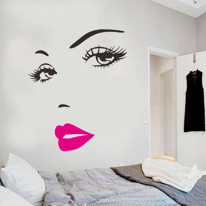 Sexy Eyelash Lady Removable Waterproof Wall Sticker Bedroom Decoration Rose red lips