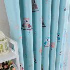 Shading Tulle Window Curtain with Cartoon Owl Pattern for Kids Room Bedroom Living Room Owl blue (cloth)_100 * 250CM (punching processing)