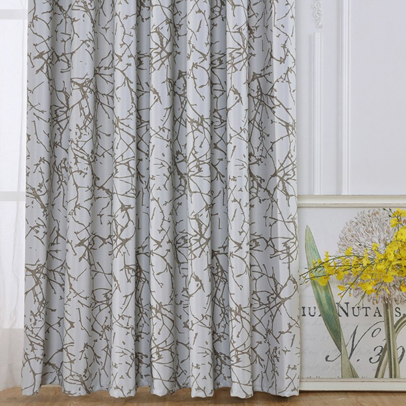 Shading Window Curtain with Branch Pattern for Bedroom Balcony Decoration As shown_2 * 2.7 meters high