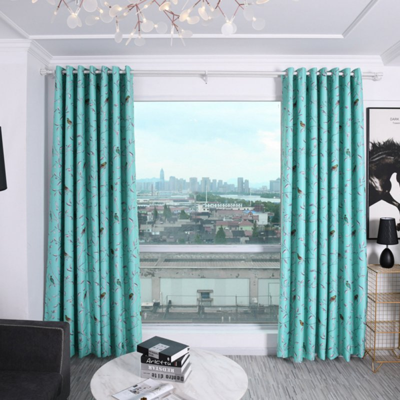 Shading Window Curtain with Bird Tree Pattern for Home Bedroom Balcony Decor blue_1.5 * 2.7m high punch