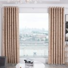 Shading Window Curtain with Bird Tree Pattern for Home Bedroom Balcony Decor Beige_1.5 * 2.7m high punch