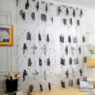 Sheer Vines Leaves Flower Model Tulle Door Window Curtain Drape Panel Scarf Valances black_100X200CM