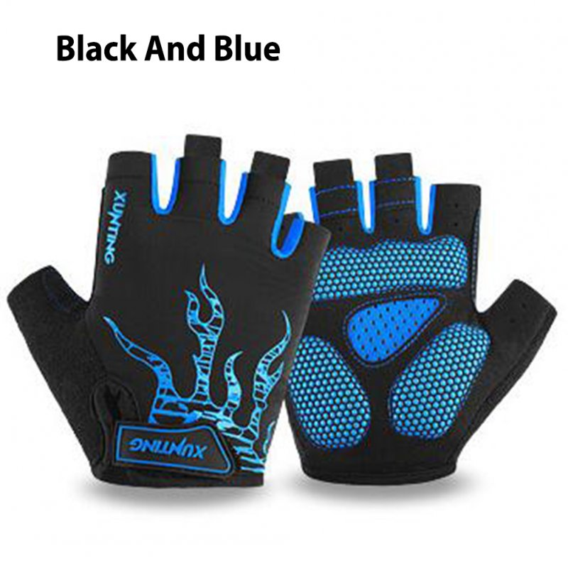 Shock-Absorbing Breathable Biking Cycling Gloves Half Finger Outdoor Sport Bicycle Gloves Blue black_XL
