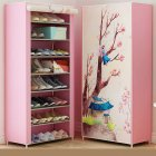 Shoes Rack 360 Degree Dust-proof Moisture-proof Shoe Cabinet with Curtained Door 4 #