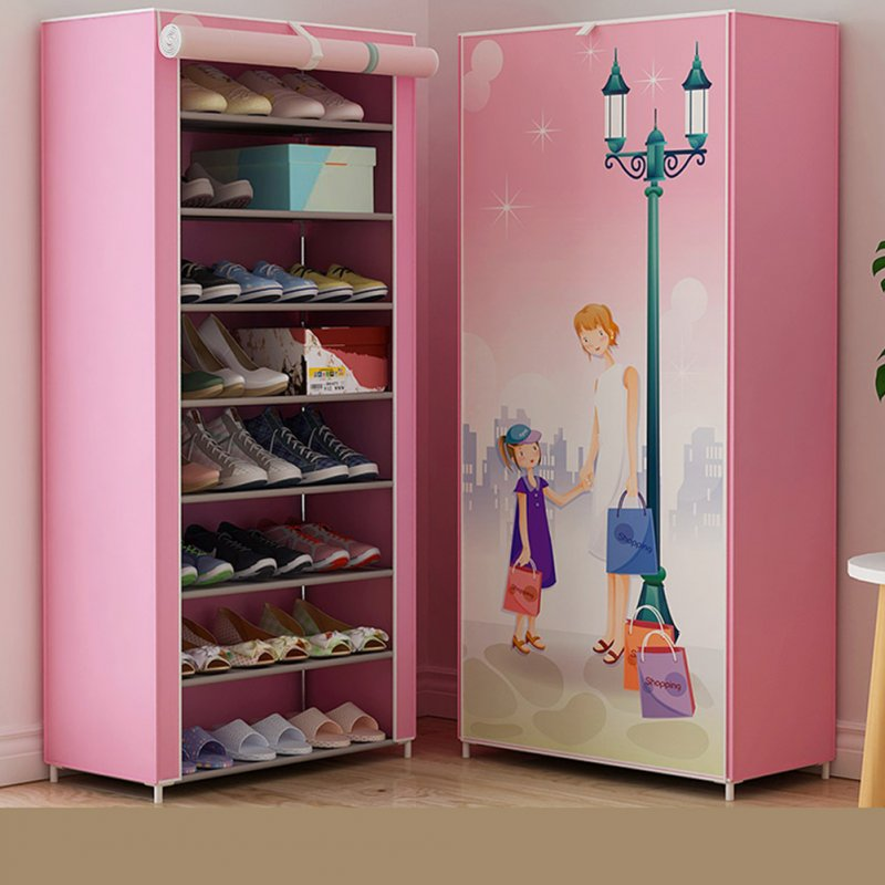 Shoes Rack 360 Degree Dust-proof Moisture-proof Shoe Cabinet with Curtained Door 2#