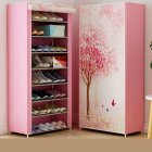 Shoes Rack 360 Degree Dust-proof Moisture-proof Shoe Cabinet with Curtained Door 1#
