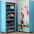 Shoes Rack 360 Degree Dust-proof Moisture-proof Shoe Cabinet with Curtained Door 5 #