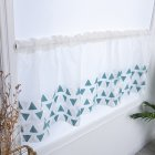 Short Curtain Blue Triangle Embroidery Shading Drapes for Entrance Kitchen Decoration 100*50cm blue_100 * 50CM