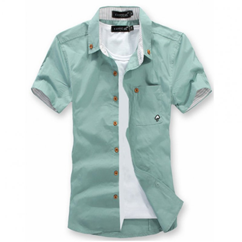Short Sleeves Shirt Single-breasted Top with Pocket Leisure Cardigan for Man Grey-green_XXL