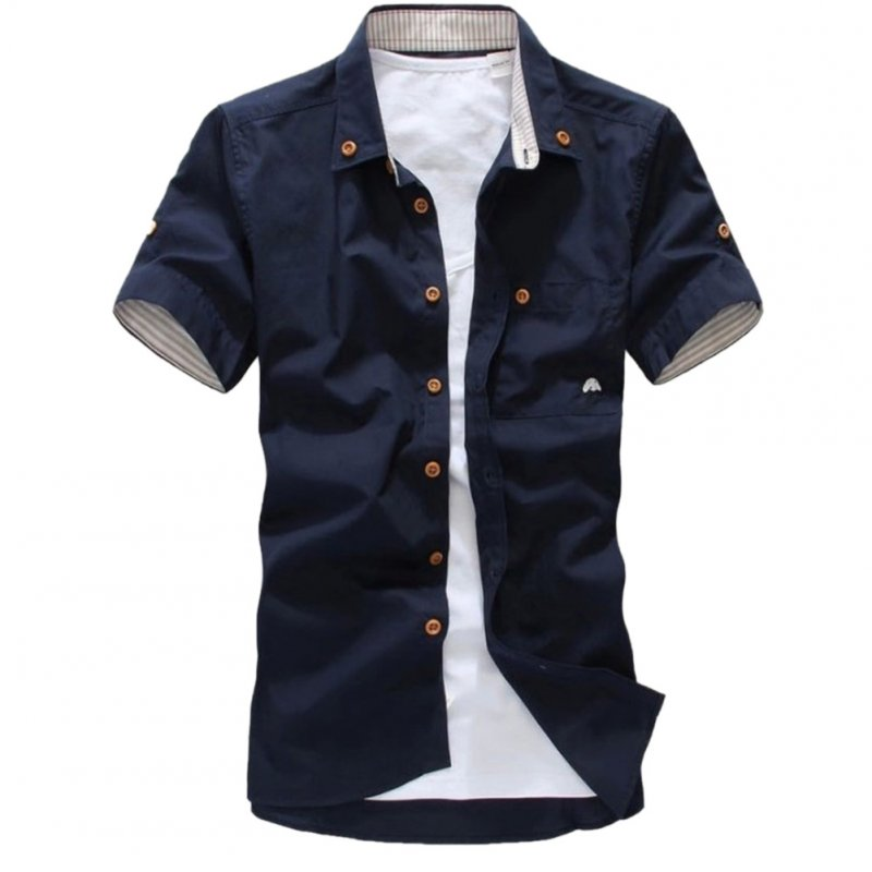 Short Sleeves Shirt Single-breasted Top with Pocket Leisure Cardigan for Man Navy_XL