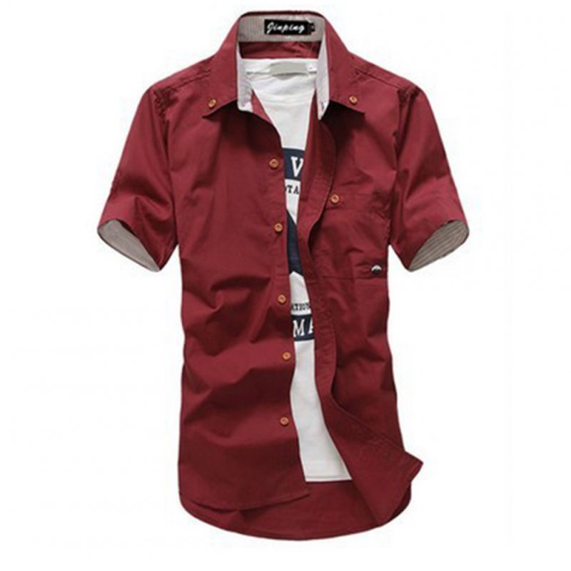 Short Sleeves Shirt Single-breasted Top with Pocket Leisure Cardigan for Man Wine Red _L