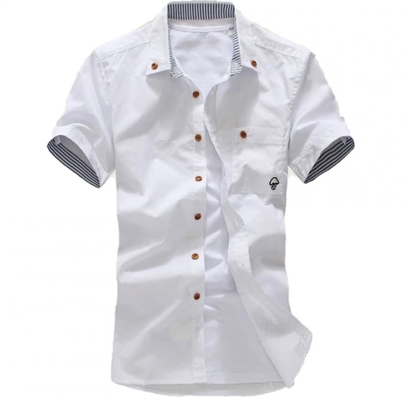 Short Sleeves Shirt Single-breasted Top with Pocket Leisure Cardigan for Man white_XXL