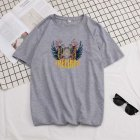 Short Sleeves and Round Neck Shirt Leisure Pullover Top with Unique Pattern Decorated 699 gray_3XL